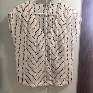 Charlotte Russe white/black sheer shirt